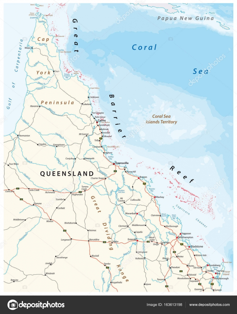 Road Map Of The Cap York Peninsula With The Great Barrier Reef - Australian road maps free