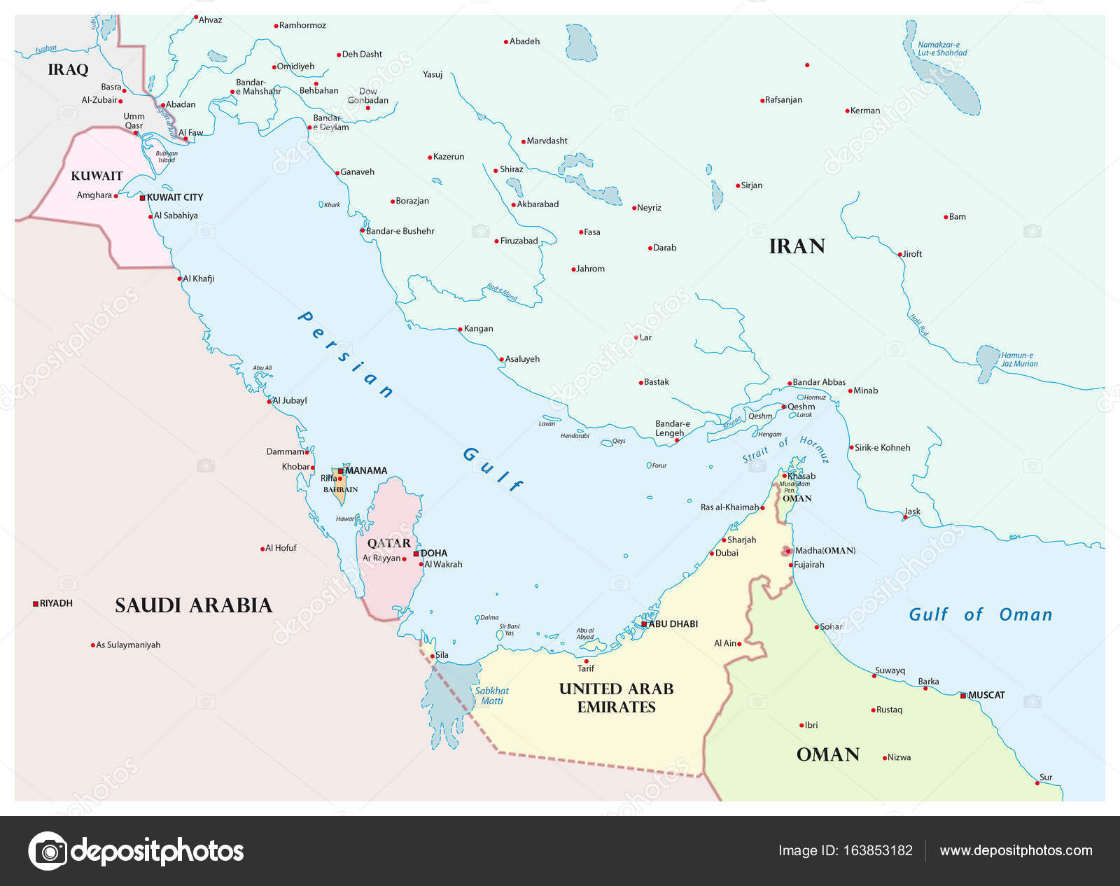 map of the persian gulf and its neighboring countries stock vector