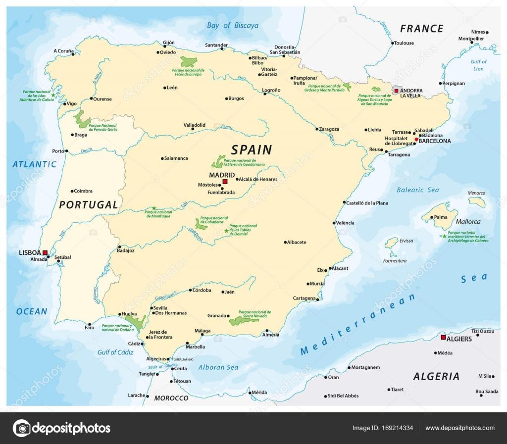 Map Of The Iberian Peninsula Stock Vector C Lesniewski 169214334