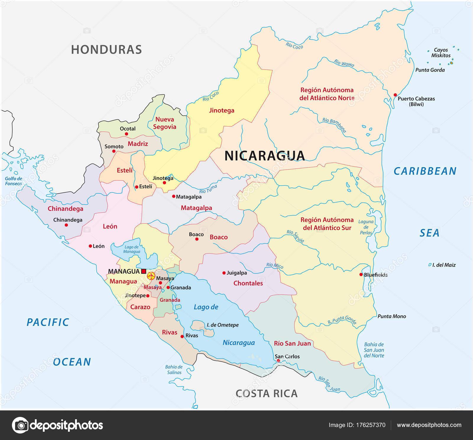 Nicaragua Administrative Political Vector Map Stock Vector