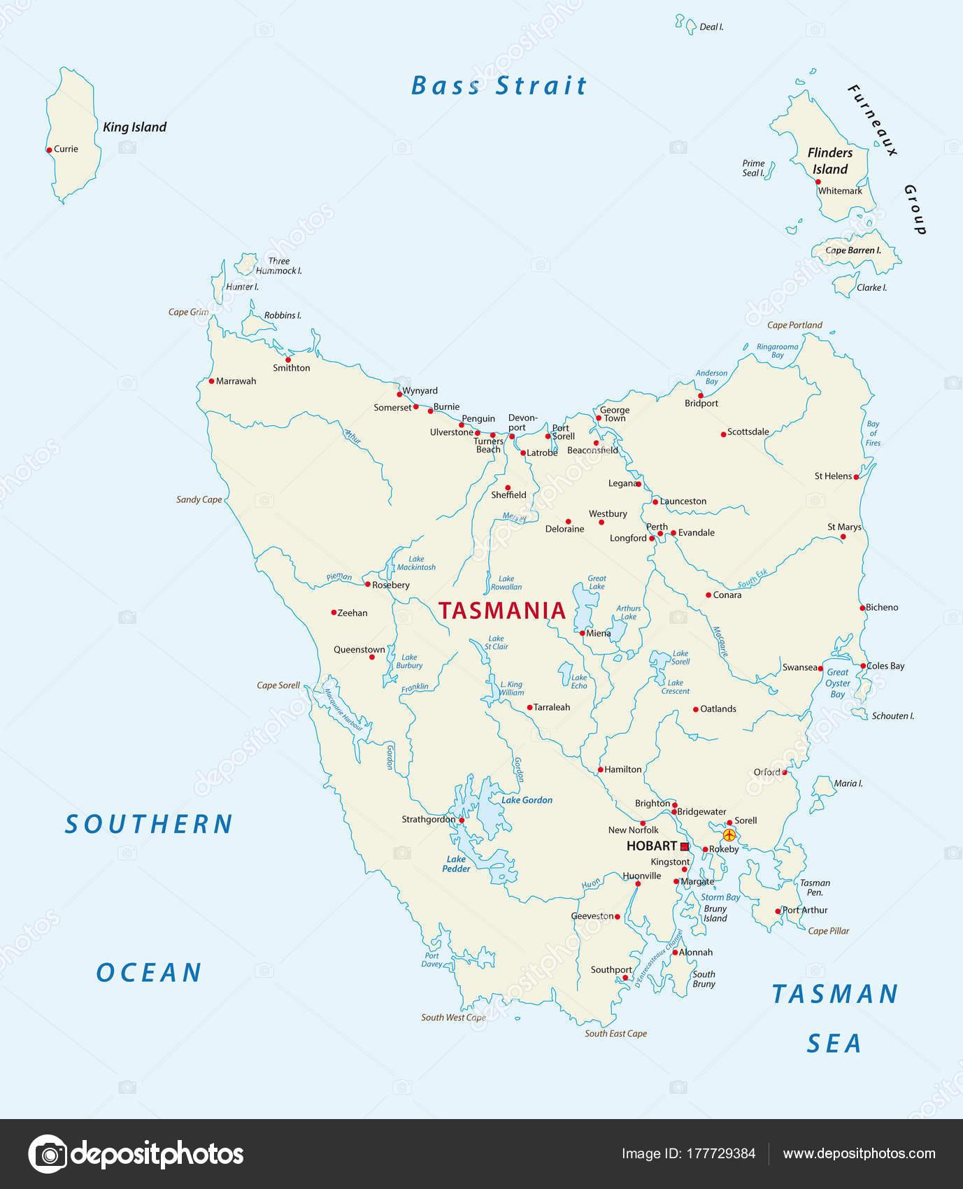 karta över brighton Vektor Karta Över Australiskt Tasmanien — Stock Vektor  karta över brighton