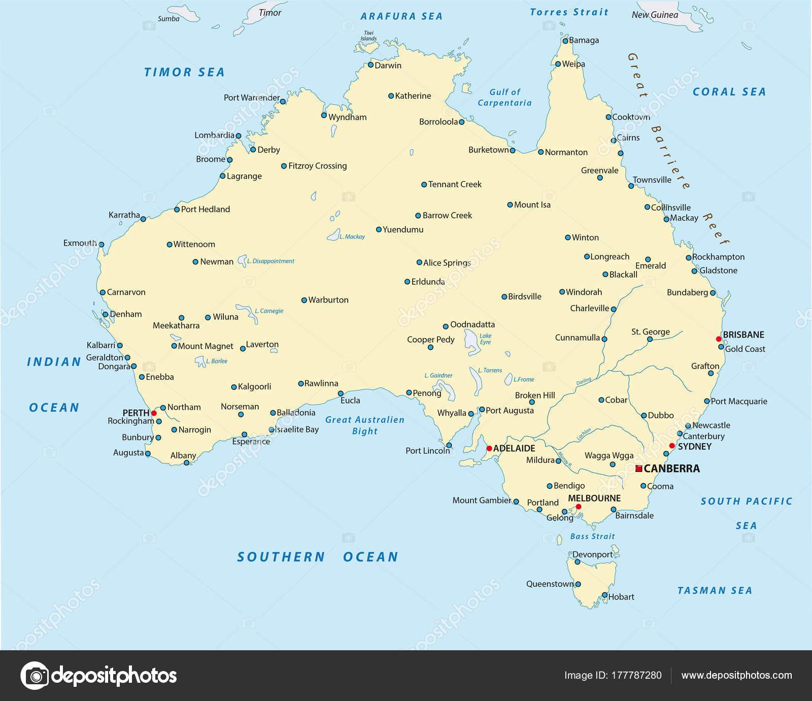 Carte Australie Grande Ville.Grande Carte Detaillee Vecteur Ville Australie Image Vectorielle