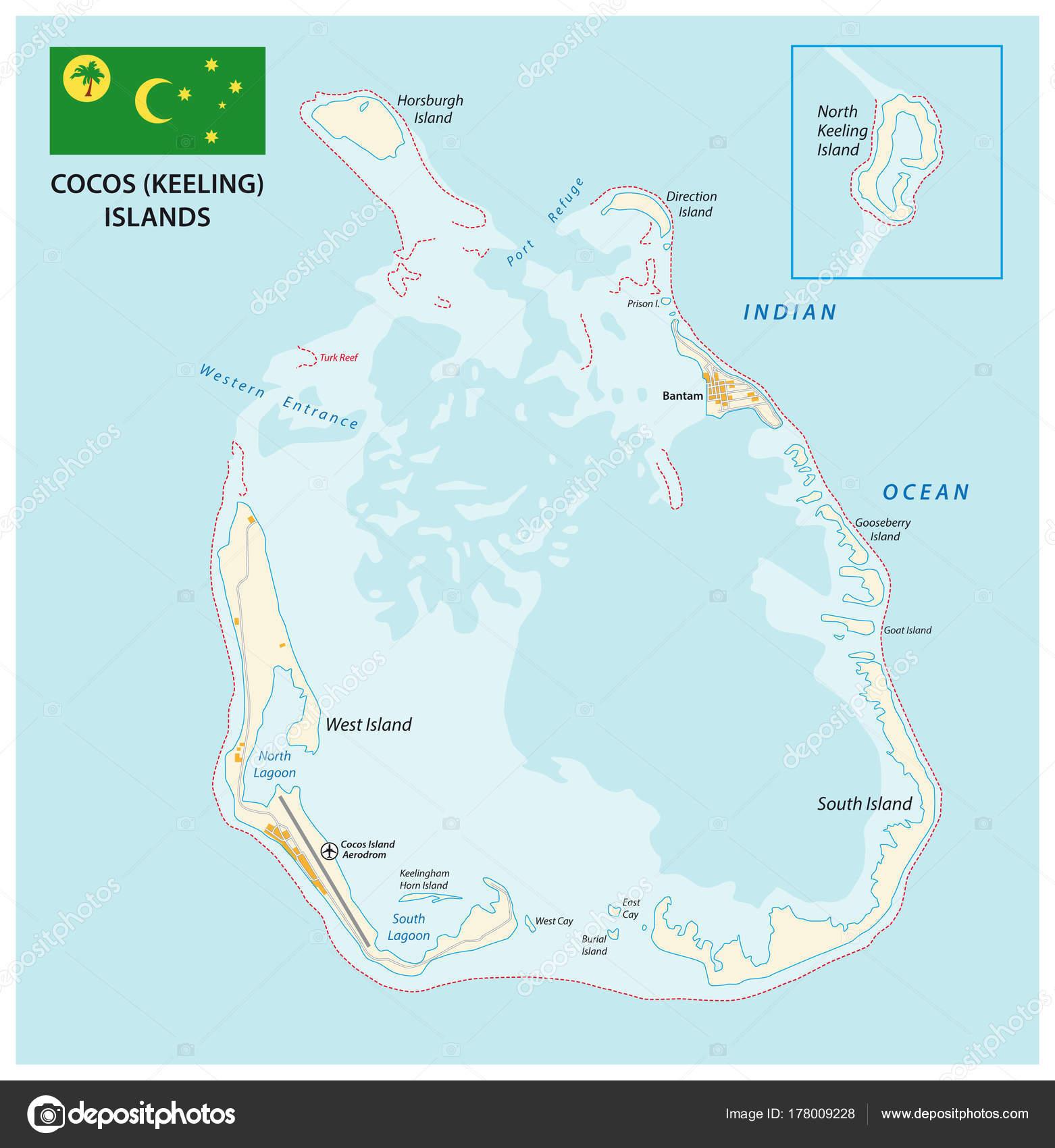 Cocos Keeling Islands Vector Map Flag Stock Vector Lesniewski