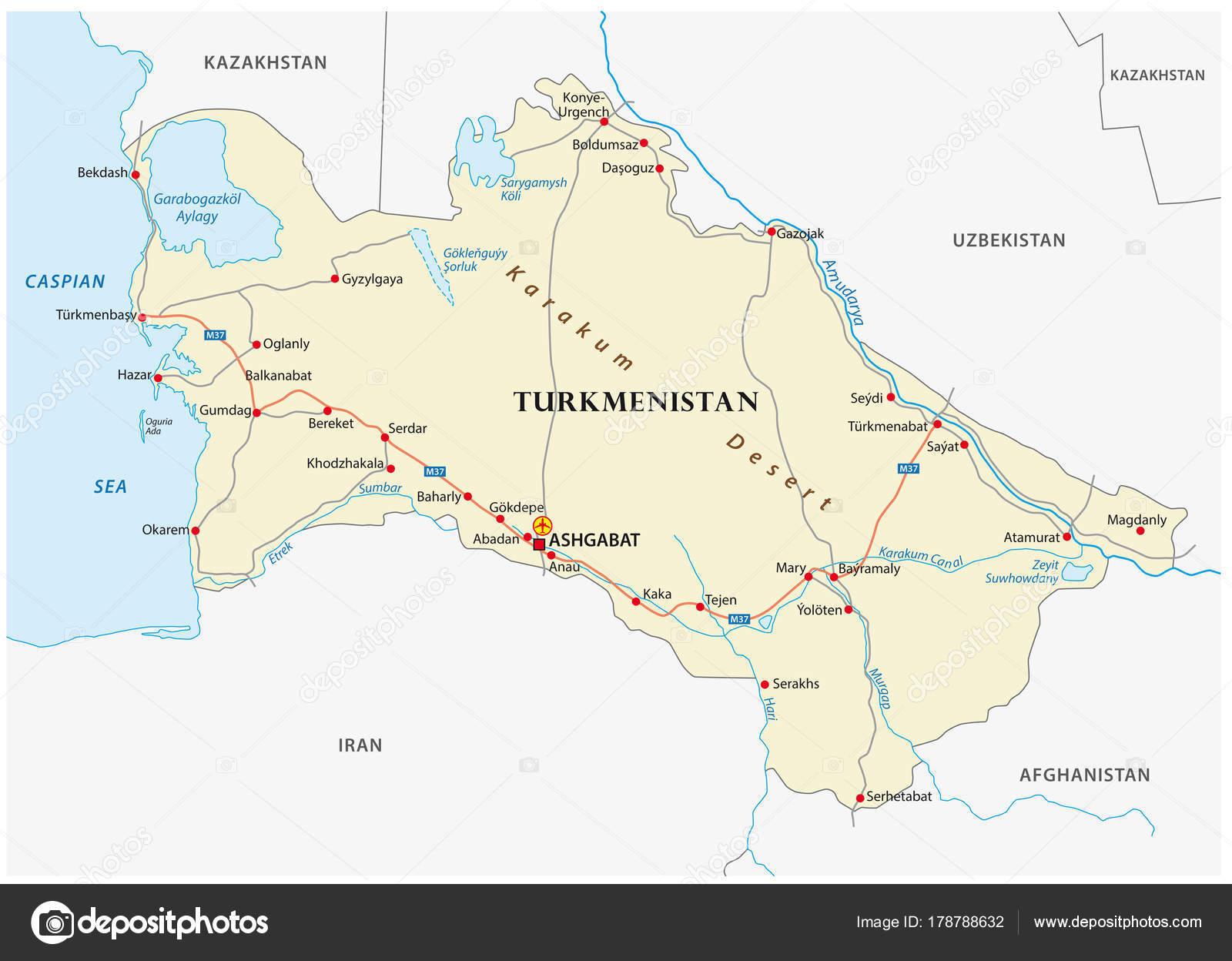 Turkmenistan Road Vector Map Important Cities Stock Vector