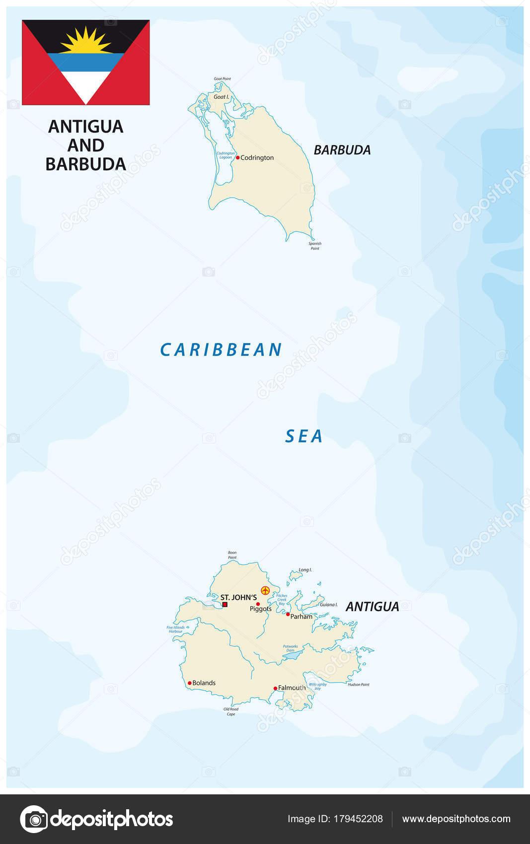Antigua Barbuda Vector Map Flag — Stock Vector © Lesniewski ...