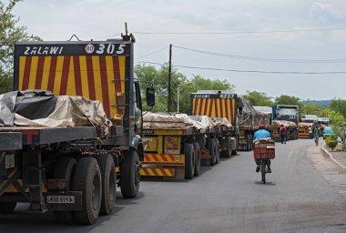 LIVINGSTONE, ZAMBIA-NOVEMBER 23, 2017: Trucks at the border crossing between Zambia and Zimbabwe at Livingstone, Zambia