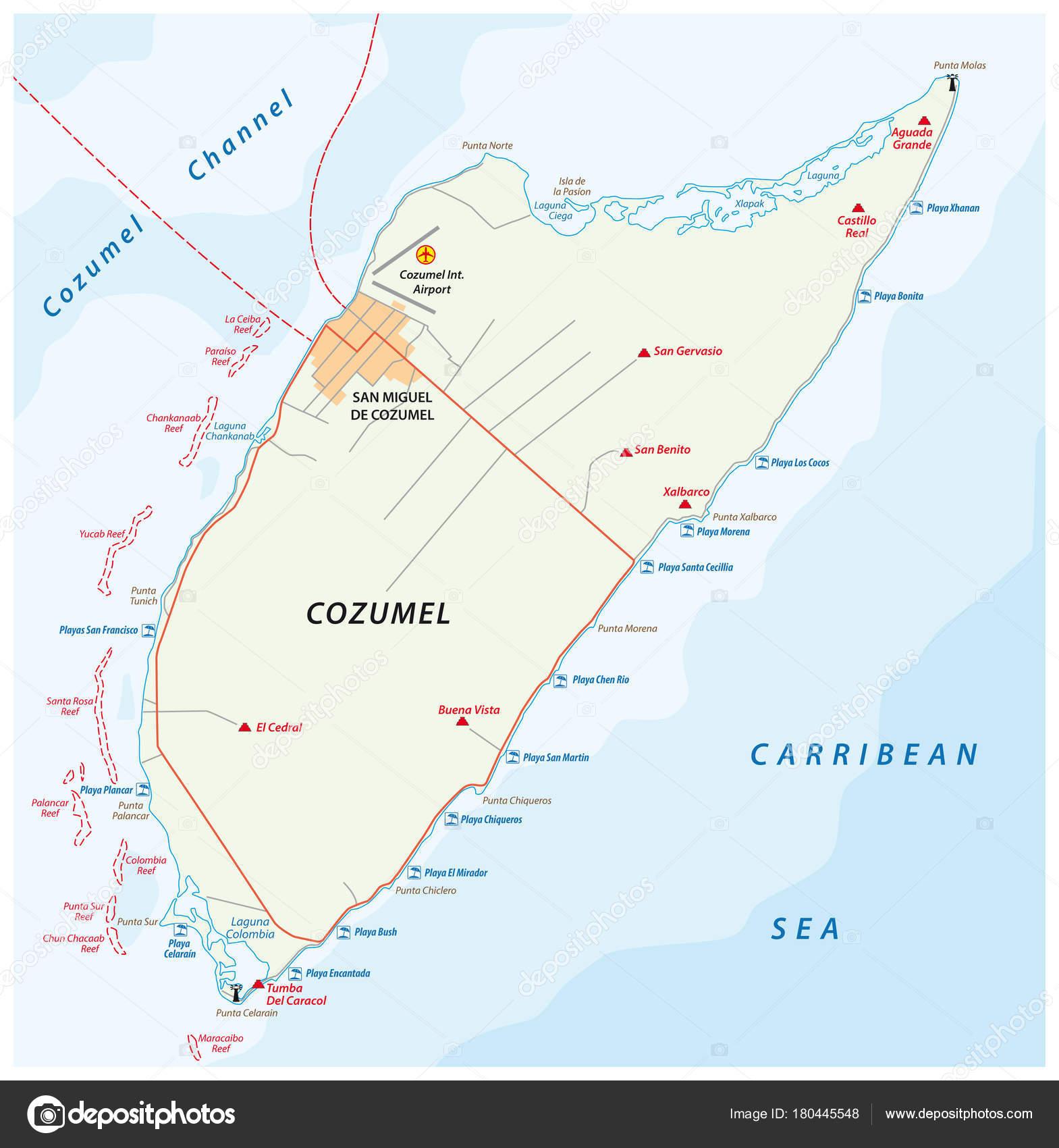 Cozumel Beach Road Vector Map Mexico Stock Vector Lesniewski
