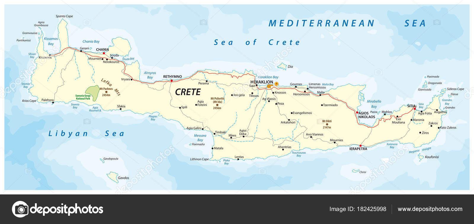 Vector Street Map Greek Mediterranean Island Crete Stock Vector