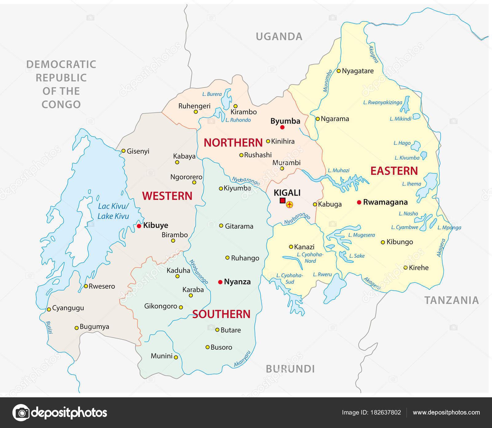 Rwanda Administrative Political Vector Map Stock Vector