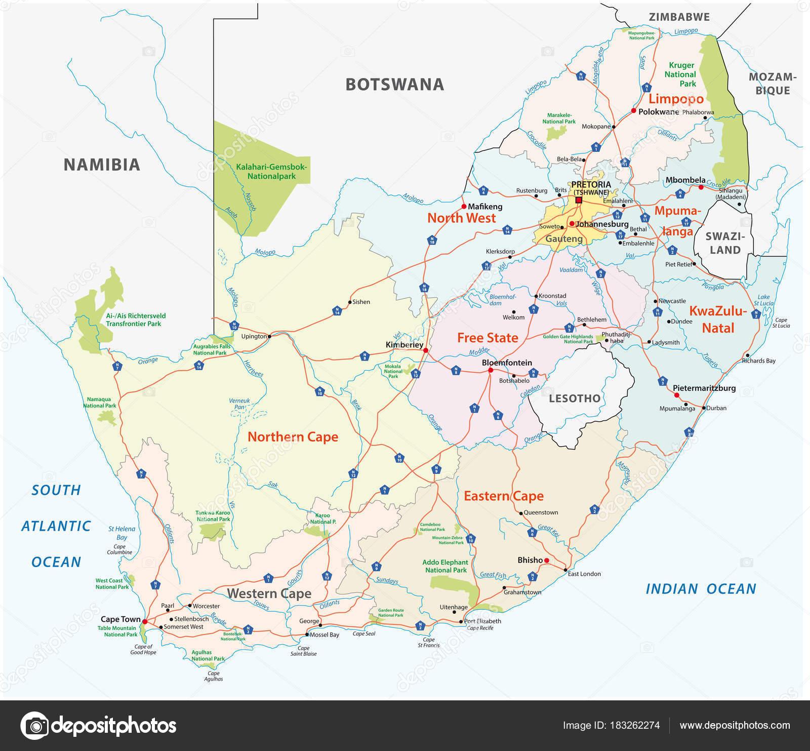 Sud Africa Cartina Politica.Vettore Cartina Politica Sudafrica Sud Africa Road Mappa