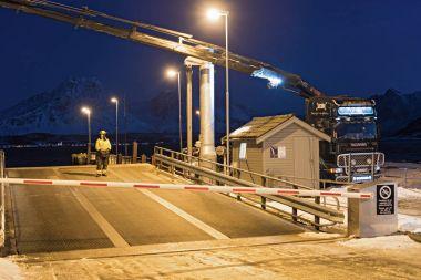 BREIVIKEIDET, NORWAY-JANUARY 16, 2018: Driveway to the car ferry in Breivikeidet, Norway