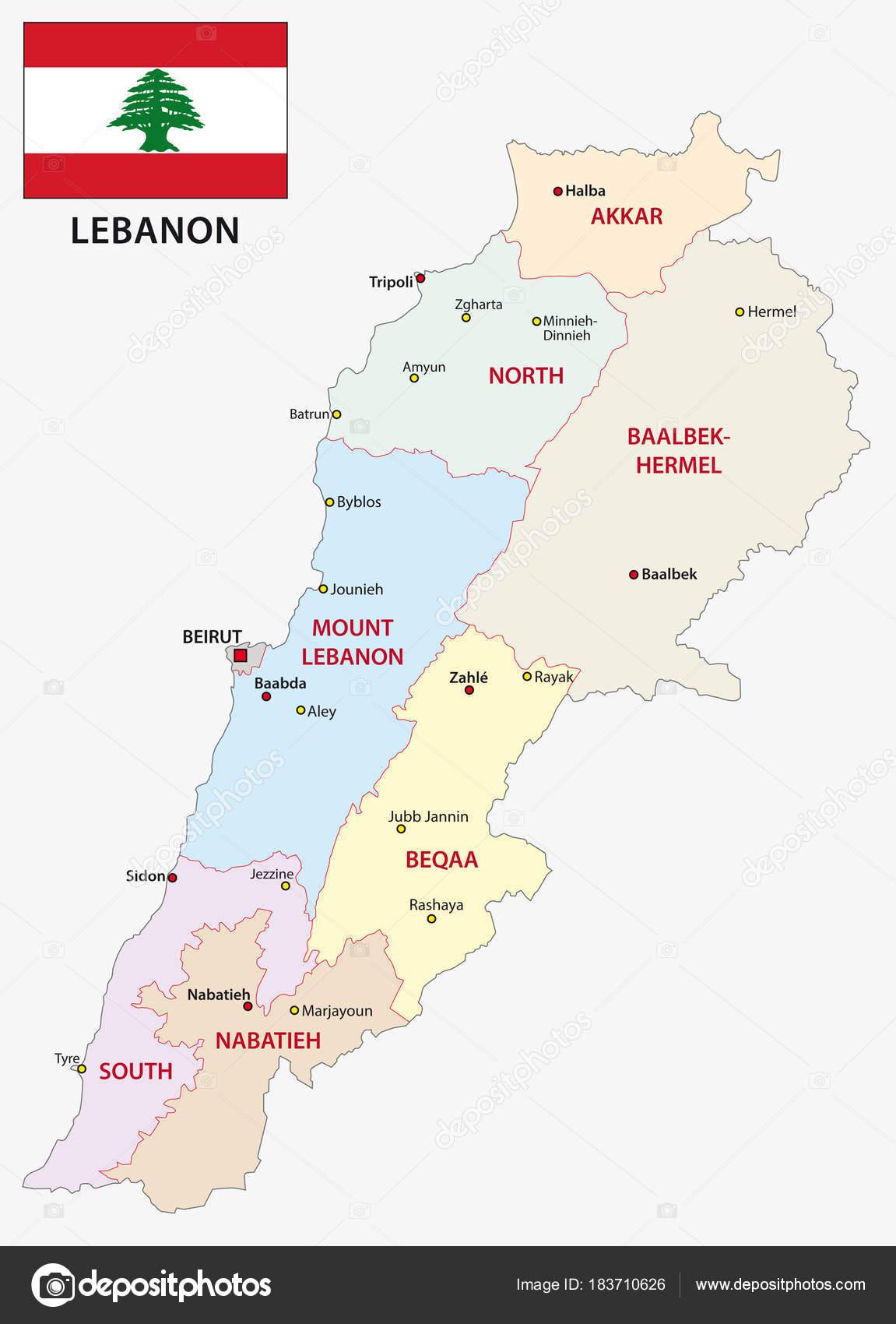 Lebanon Administrative Political Vector Map Flag Stock Vector