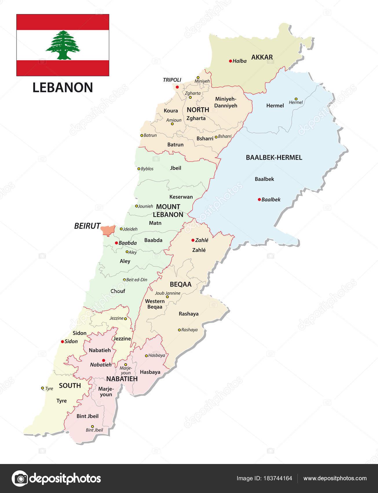 libanon karta Detaljerade Libanon Administrativa Och Politiska Vektor Karta Med  libanon karta