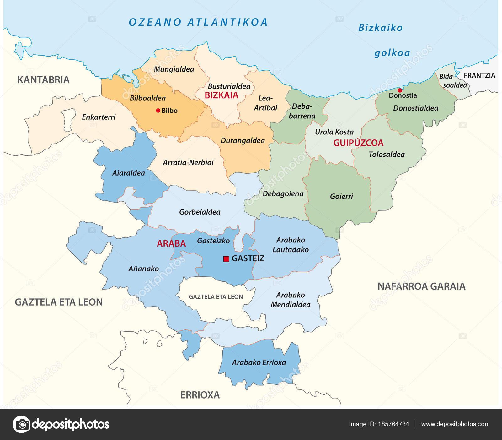pais basco mapa Mapa Vetor Administrativos Políticos País Basco Língua Basca  pais basco mapa