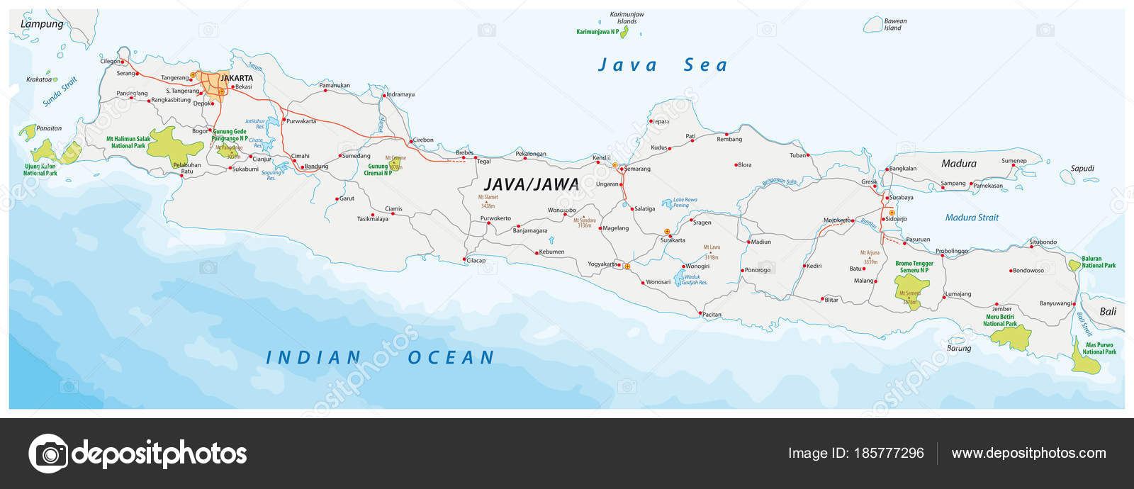Vector road national park map indonesian island java stock vector vector road national park map indonesian island java stock vector gumiabroncs Images