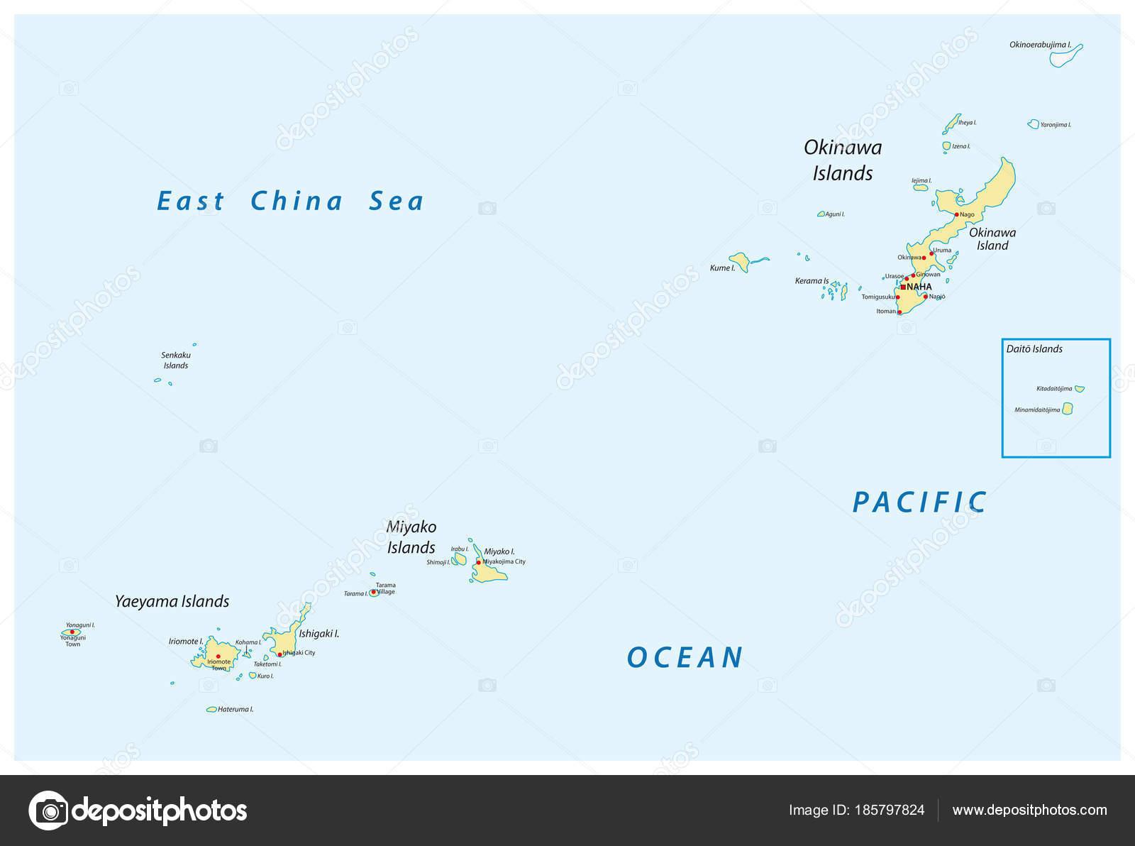 Detailed Vector Map Japanese Island Groups Okinawa Miyako Yaeyama ...