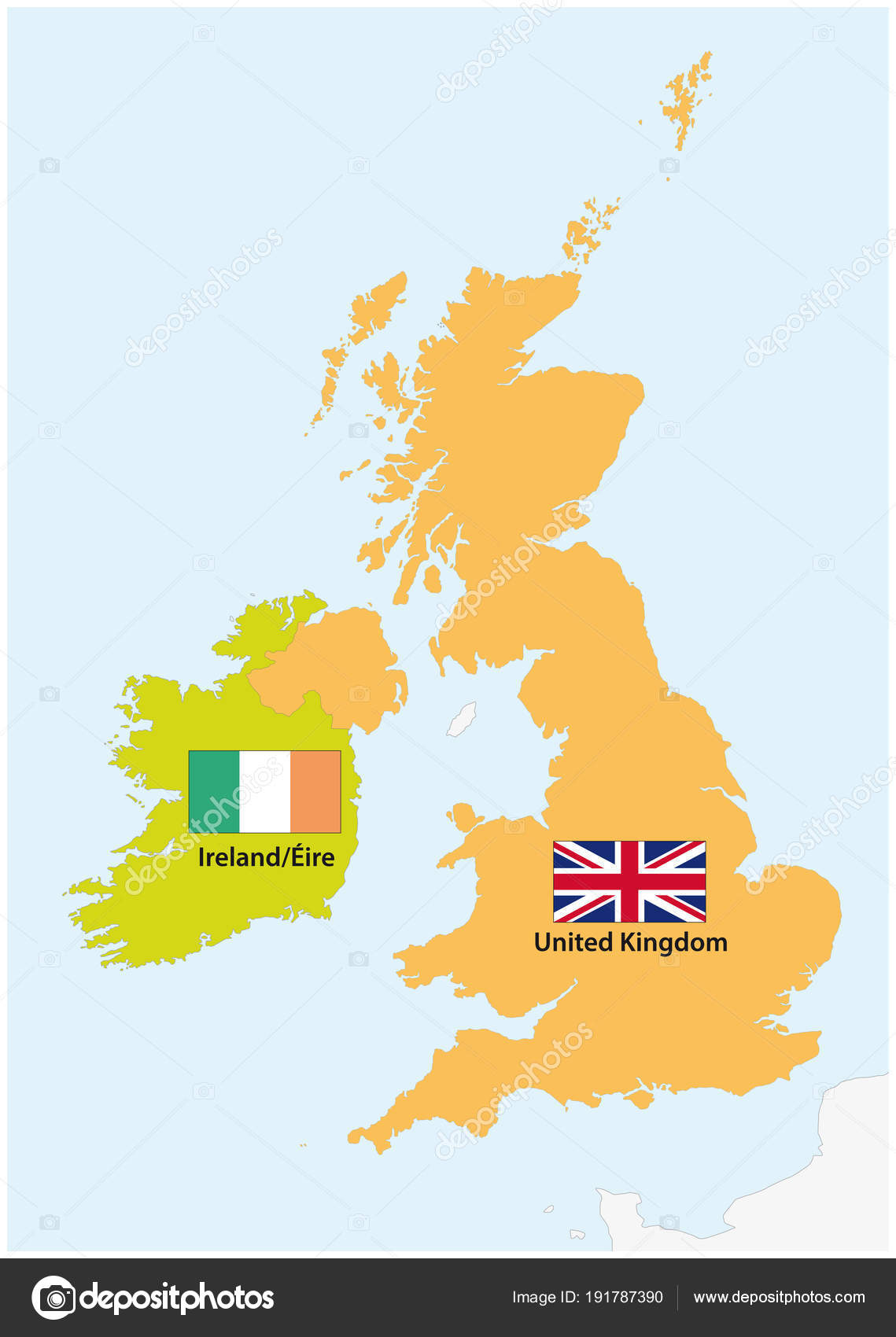 Map Of Ireland Vector.Simple Outline Vector Map Ireland United Kingdom Flag Stock Vector