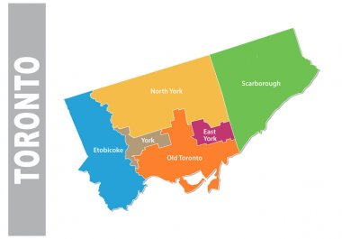 colorful toronto administrative and political vector map