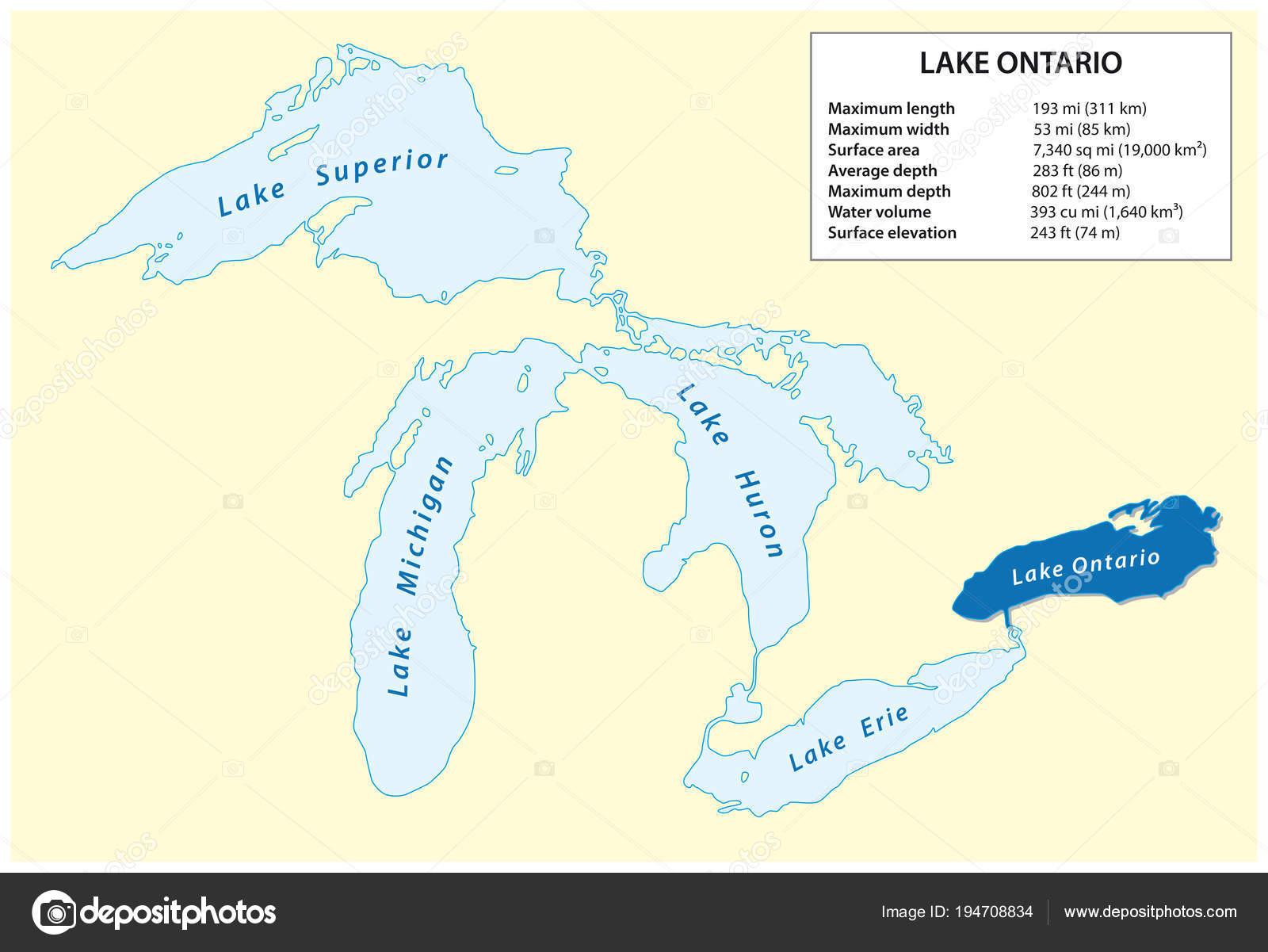 Information Vector Map Lake Ontario North America — Stock Vector ...