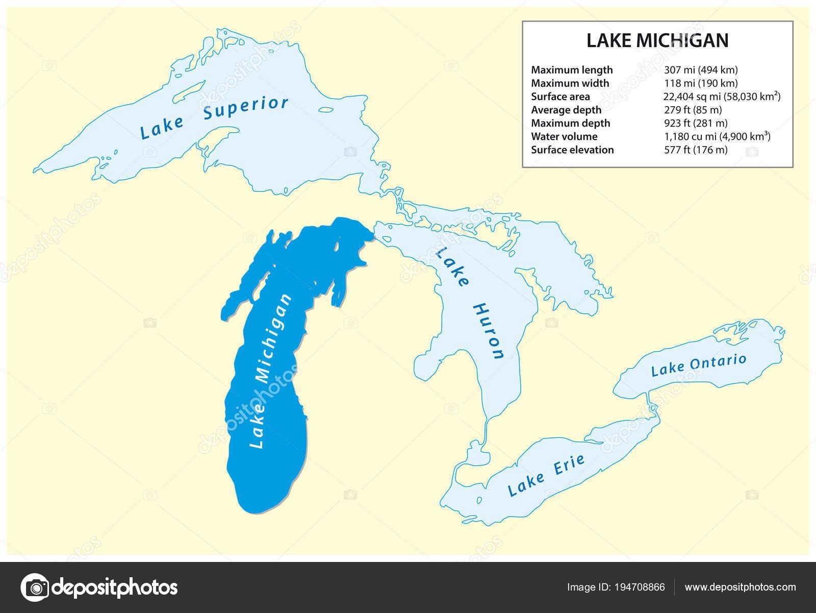 information vector map lake michigan north america stock vector c lesniewski 194708866 https depositphotos com 194708866 stock illustration information vector map lake michigan html