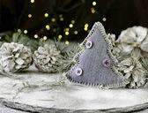 Fotografie Dekorace vánoční přání s větvemi jedlí a dekorační prvky, Selektivní ostření