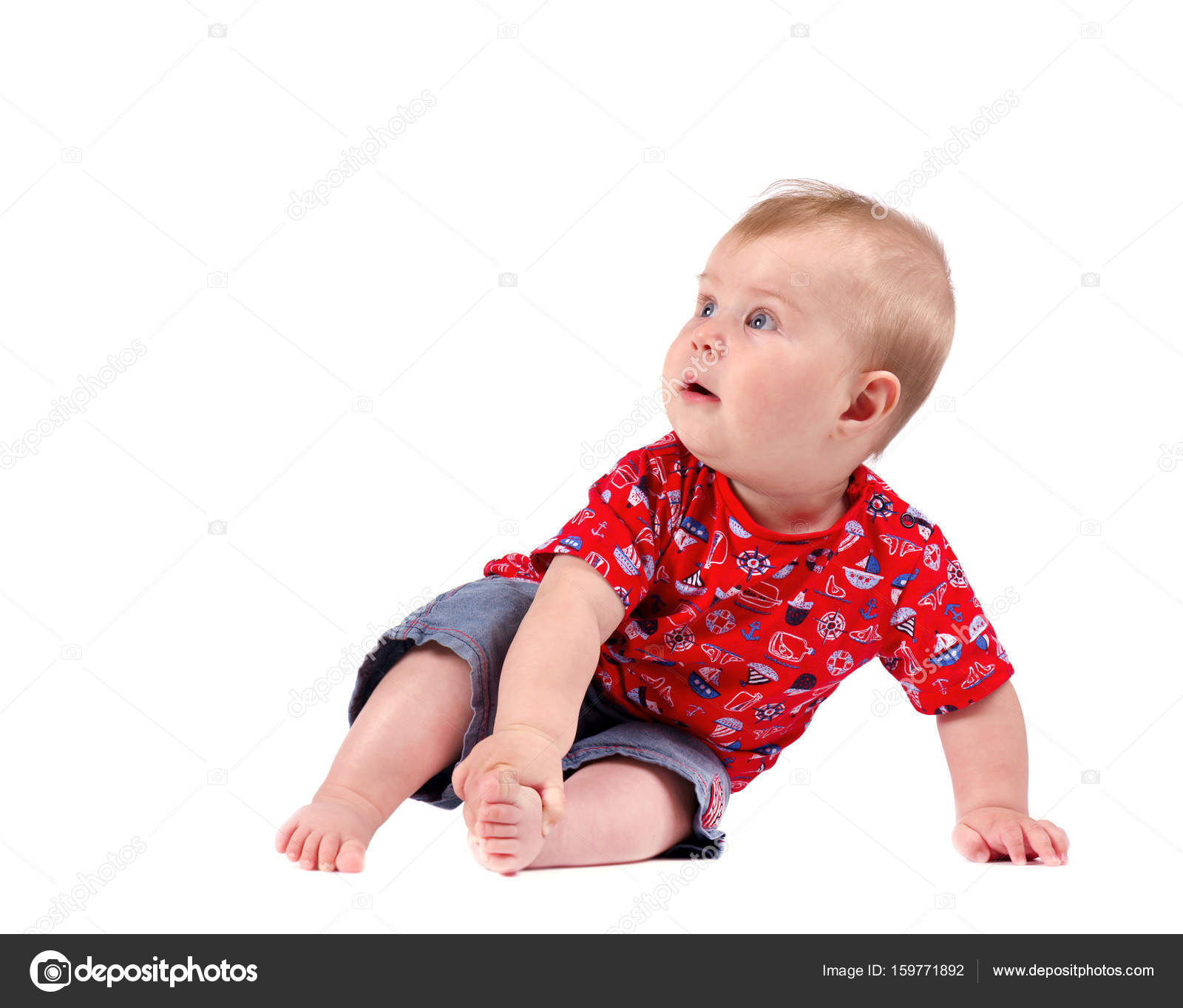 d61899b51cb Small baby boy. Isolated on white background — Stock Photo ...