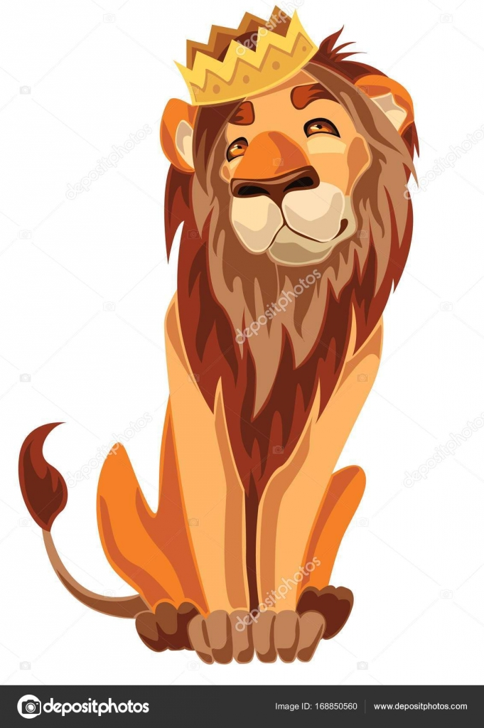 Lion Sitting With A Crown On His Head Stock Vector C Pinckace 168850560 Learn how to draw lion with crown pictures using these outlines or print just for coloring. https depositphotos com 168850560 stock illustration lion sitting with a crown html