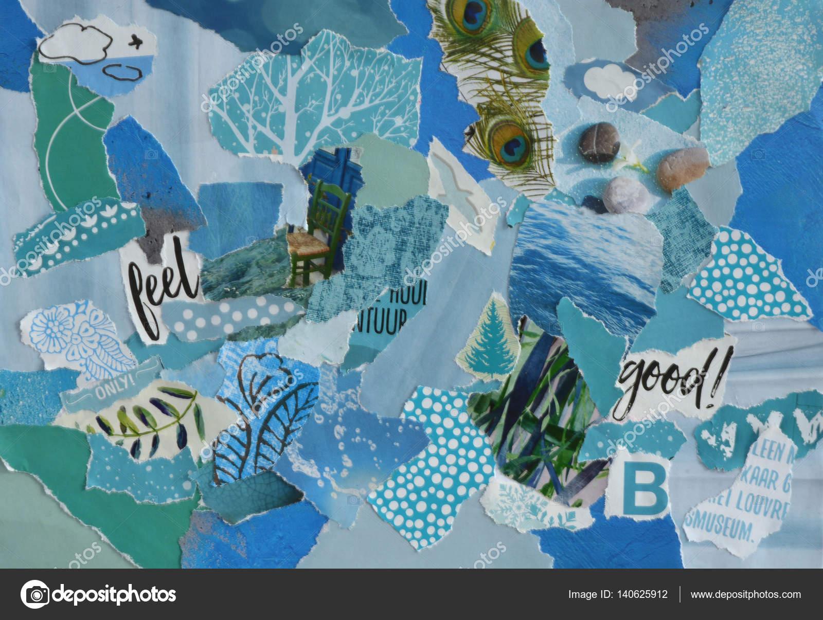Creatieve sfeer kunst mood board collage blad in kleur idee blauw