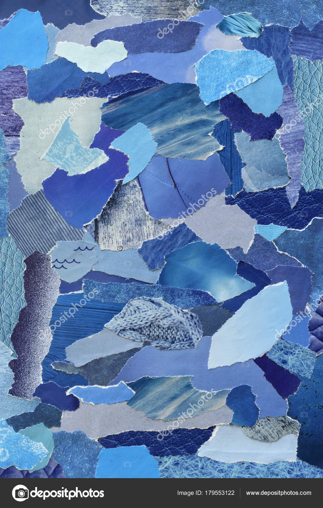 Collage Mood Board Blue Colors Sheet Made Teared Old Paper
