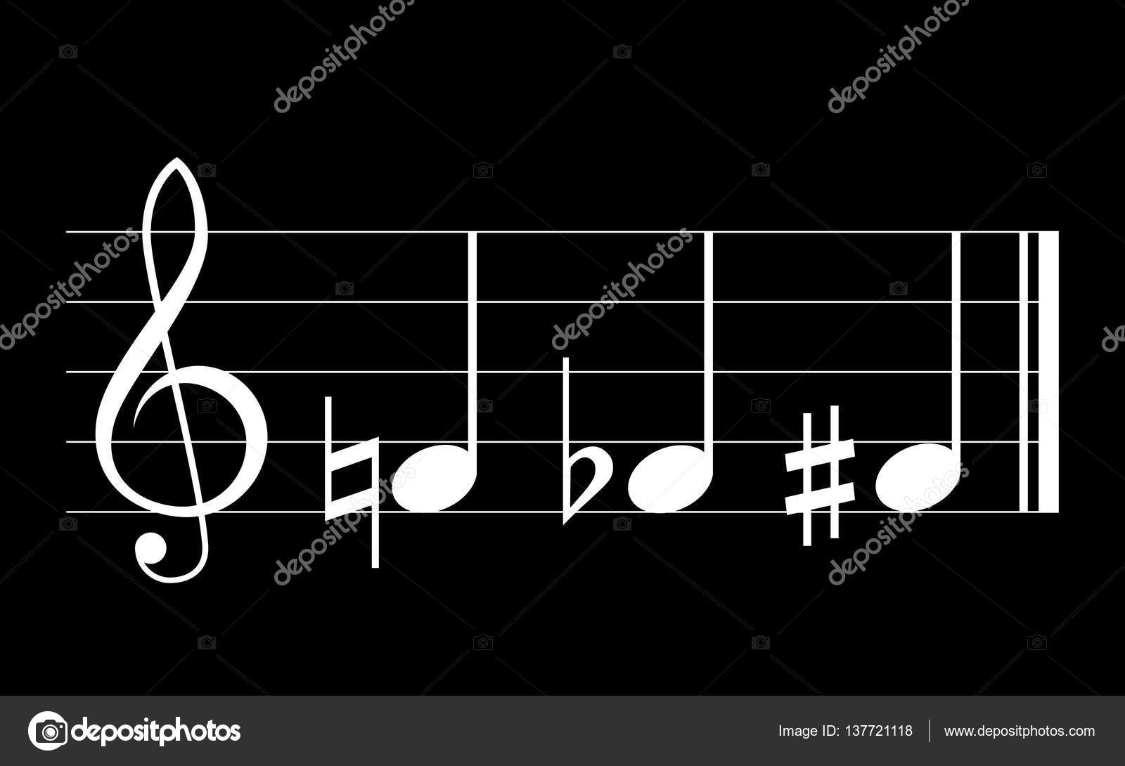 Flat Sharp And Natural Musical Symbols Stock Vector Soloviika