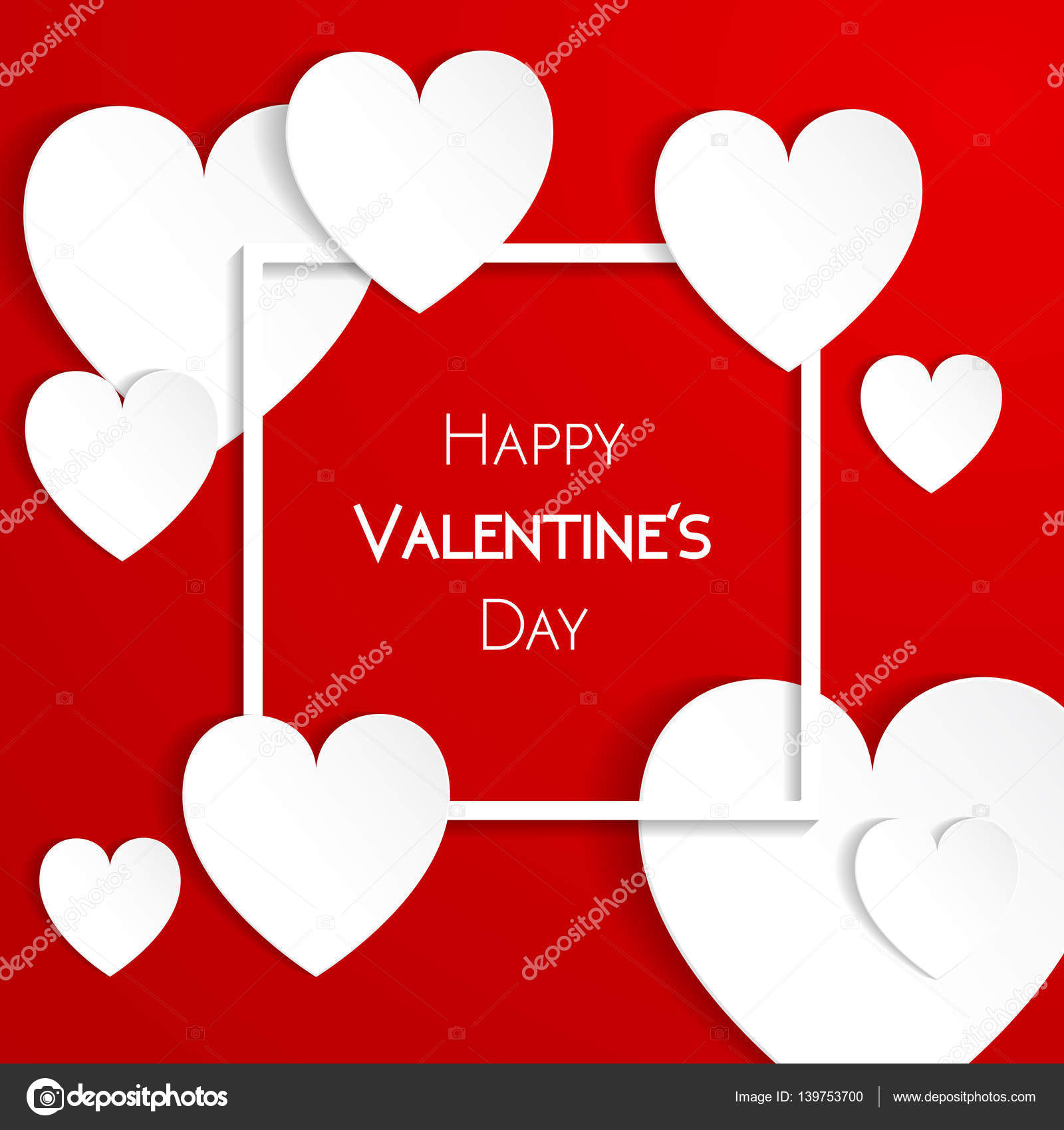Happy Valentine Day Greeting Card With Hearts Stock Vector