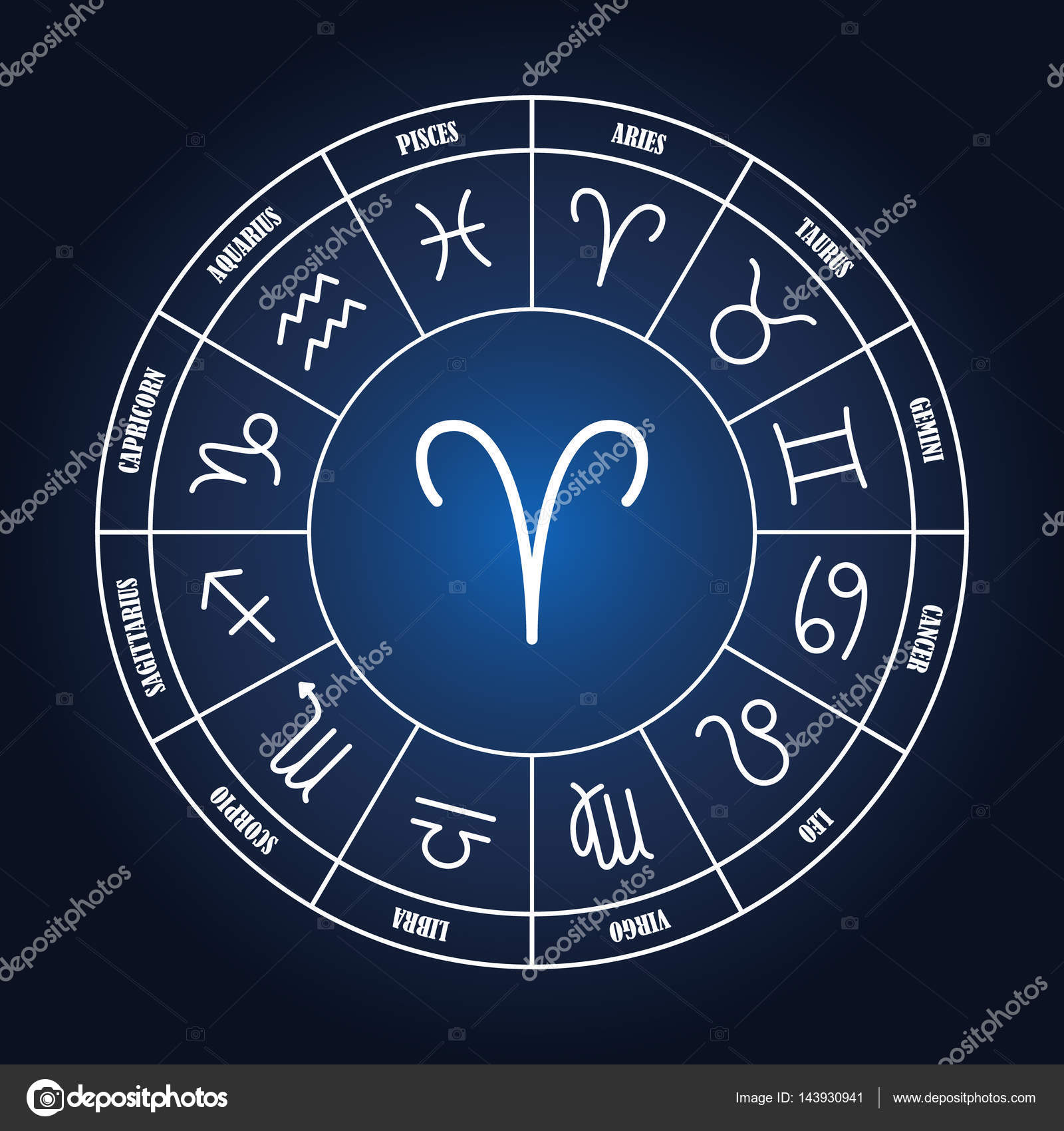 Aries astrology sing in zodiac circle stock vector soloviika aries astrology sing in zodiac circle on the dark blue background set of astrology sings vector by soloviika ccuart Images
