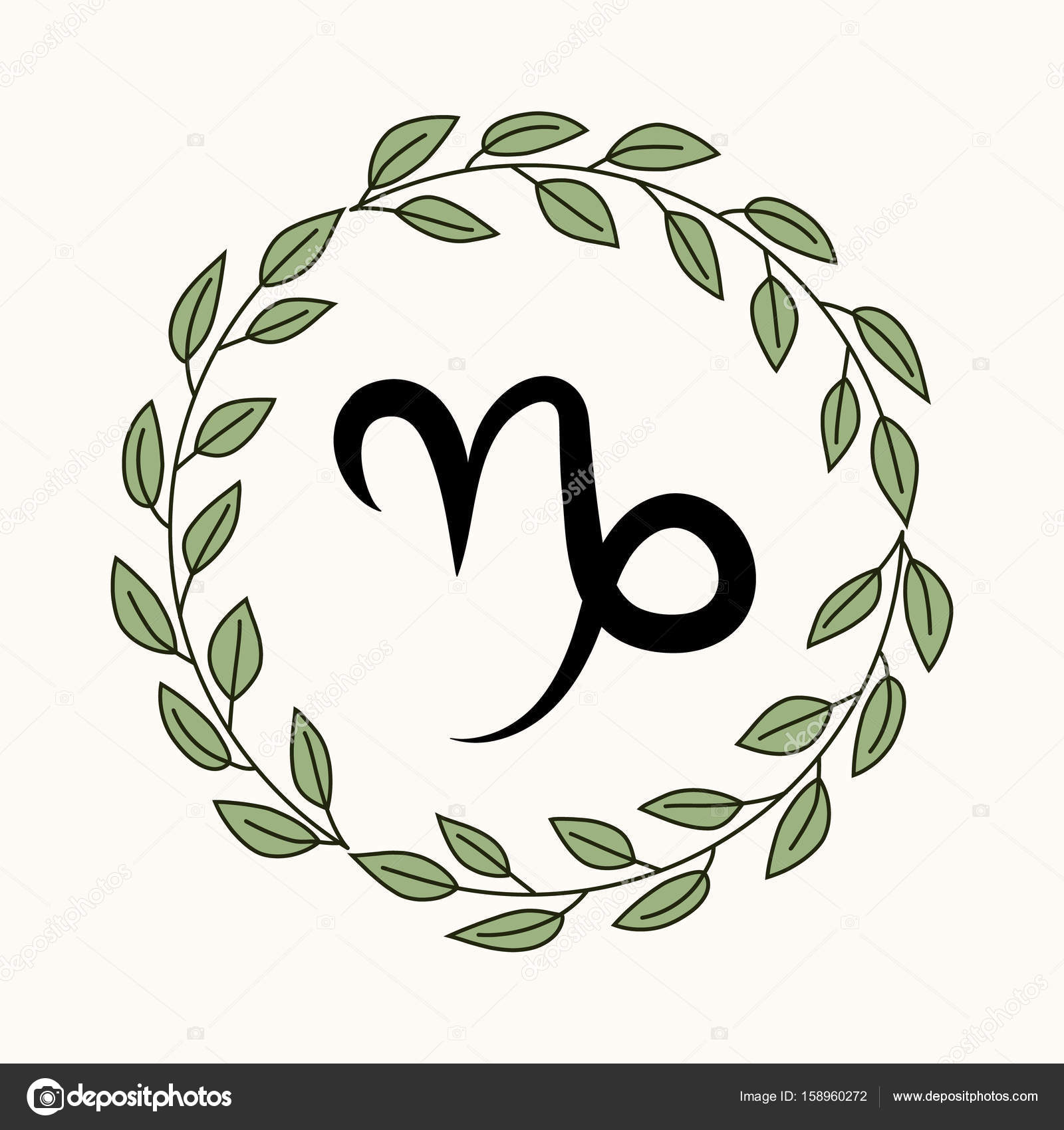 Hand Drawing Flat Capricorn Symbol In Rustic Floral Wreath Vector By Soloviika