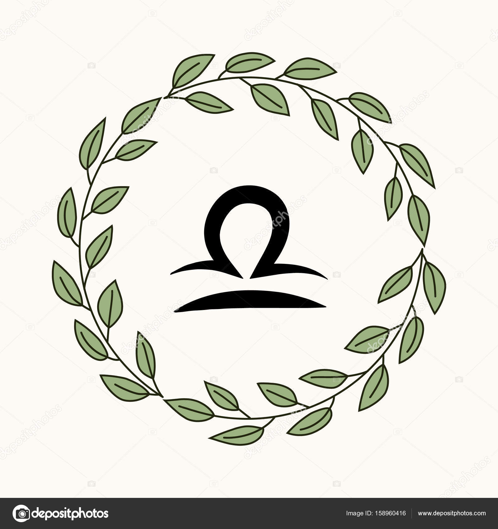Hand Drawing Flat Libra Symbol In Rustic Floral Wreath Vector By Soloviika
