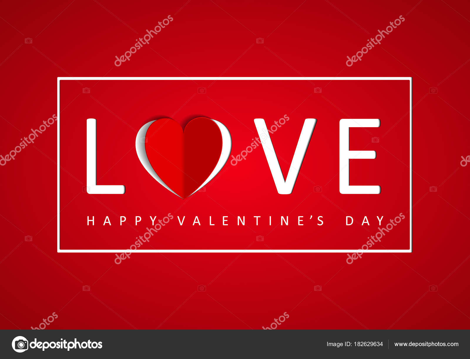 Happy Valentine Greeting Card Word Love Paper Origami Heart Stock