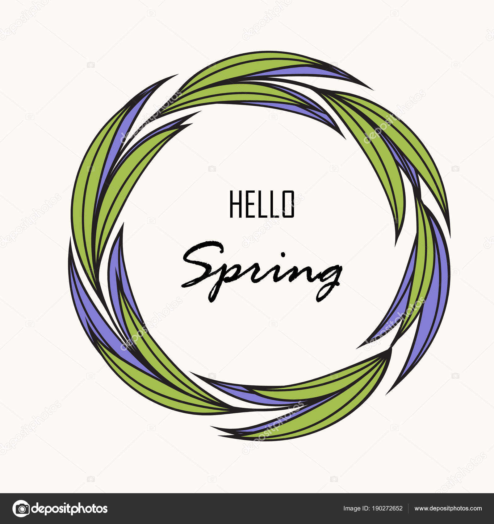 Hello Spring Greeting Card Hand Drawing Rustic Floral Wreath Stock Vector