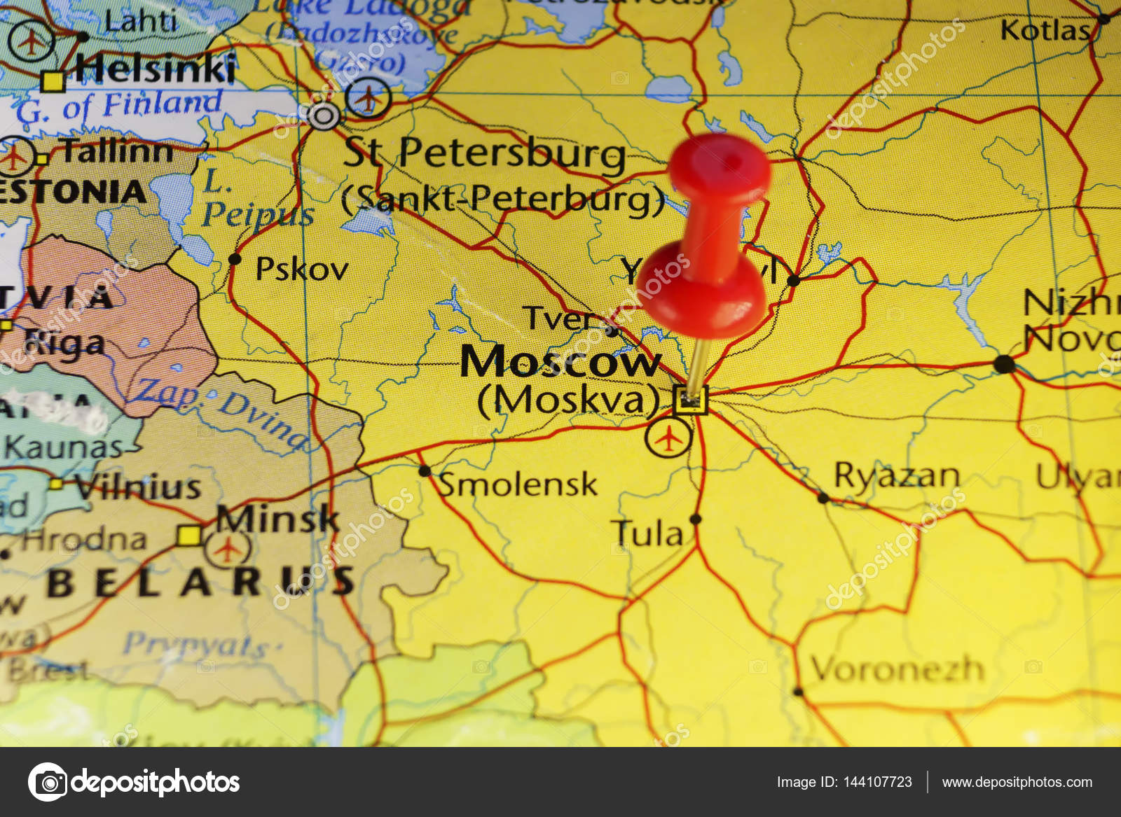 Moscow Russia pinned map — Stock Photo © llucky78 #144107723