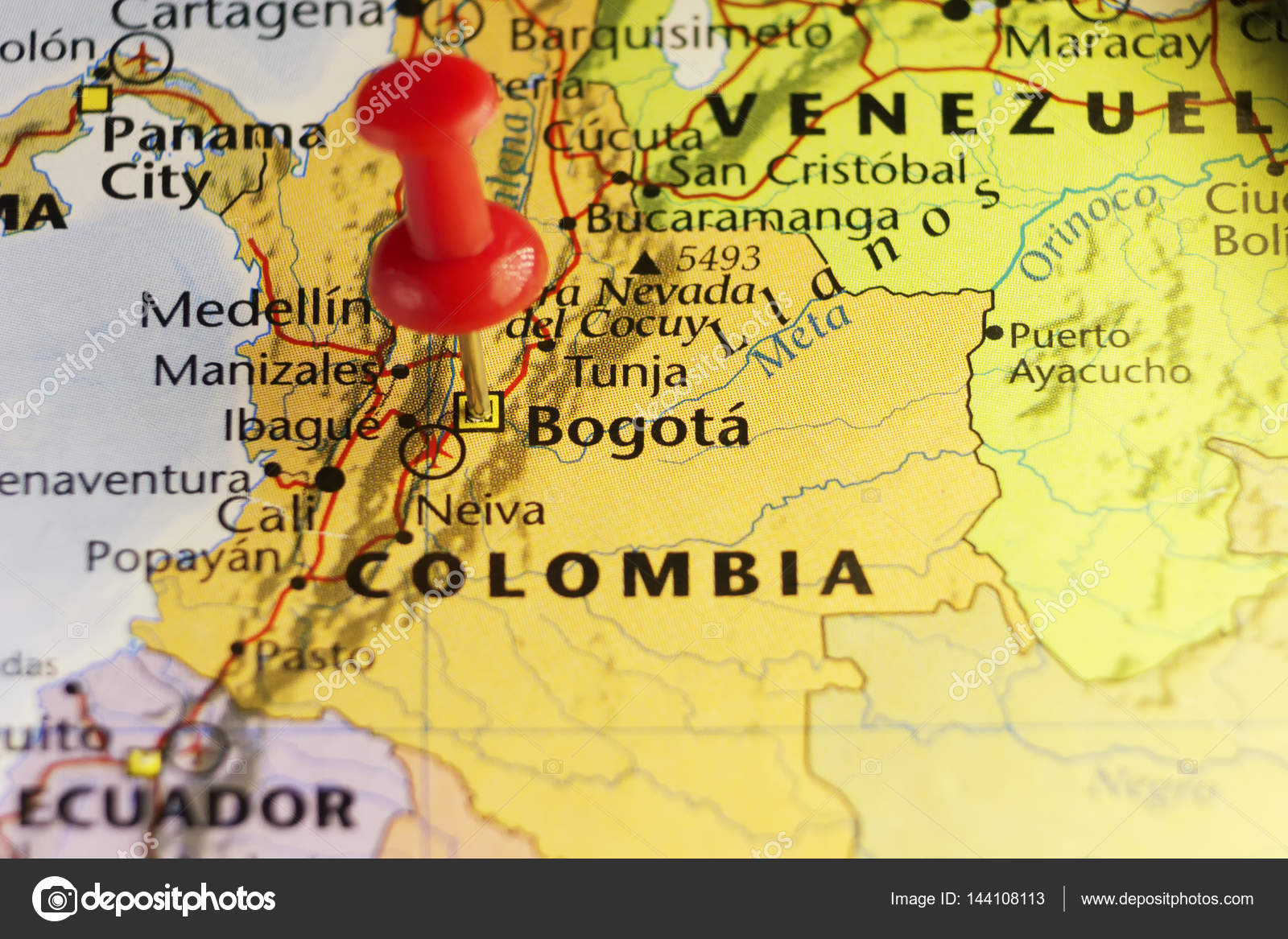 Bogota capital of Colombia, pinned map — Stock Photo © llucky78 ...