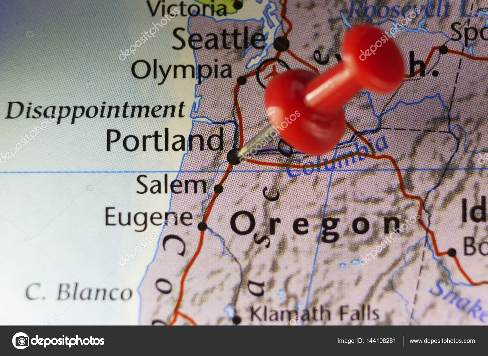 Portland Oregon USA pinned map — Stock Photo © llucky78 #144108281
