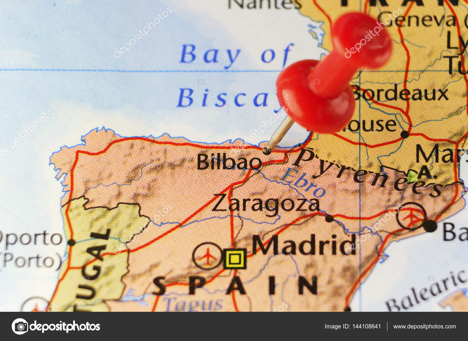 Bilbao On Map Of Spain.Red Pin On Bilbao Spain Stock Photo C Llucky78 144108641