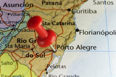 Red pin on Porto Alegre, Brazil