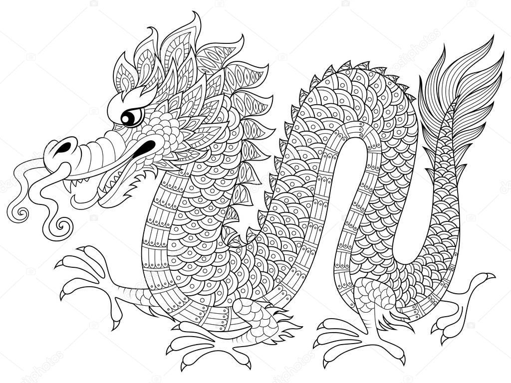 Kleurplaten Volwassenen Draken.Chinese Draak In Zentangle Stijl Volwassen Anti Stressprogramma
