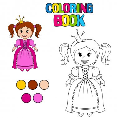 Coloring book with princess