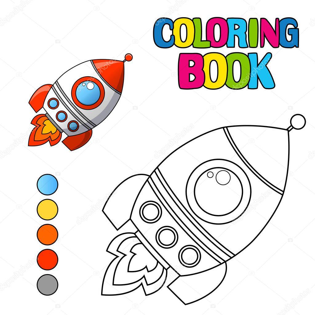 Uzay Gemisi Ile Boyama Kitabı Stok Vektör Alka5051 130534020