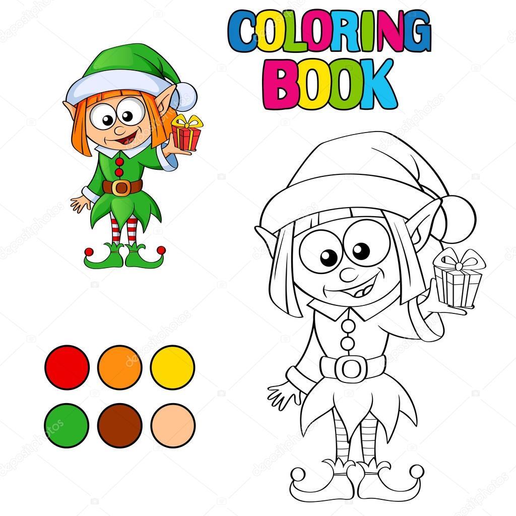 Libro para colorear con elfo de Navidad — Archivo Imágenes ...