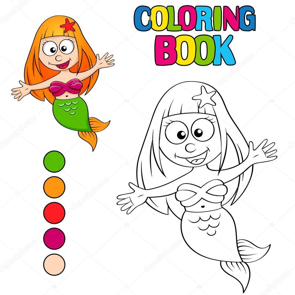 libro de colorear con sirena — Archivo Imágenes Vectoriales ...