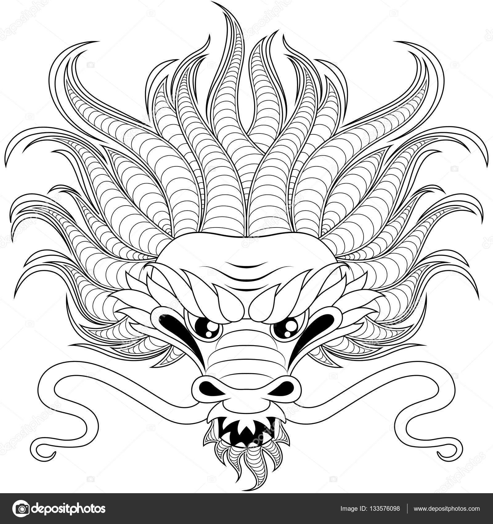 hoofd de draak in zentangle stijl voor