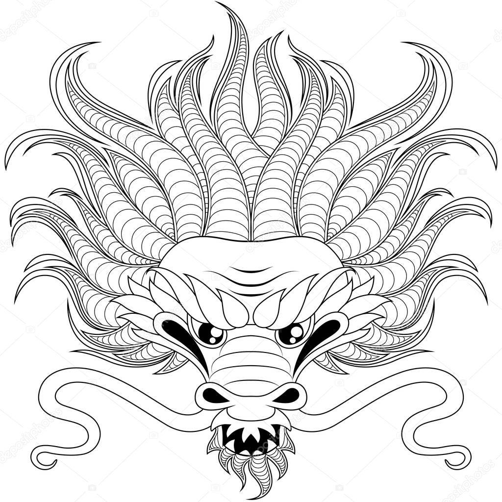 Tête de dragon chinois en zentangle style tatoo ou cahier ...