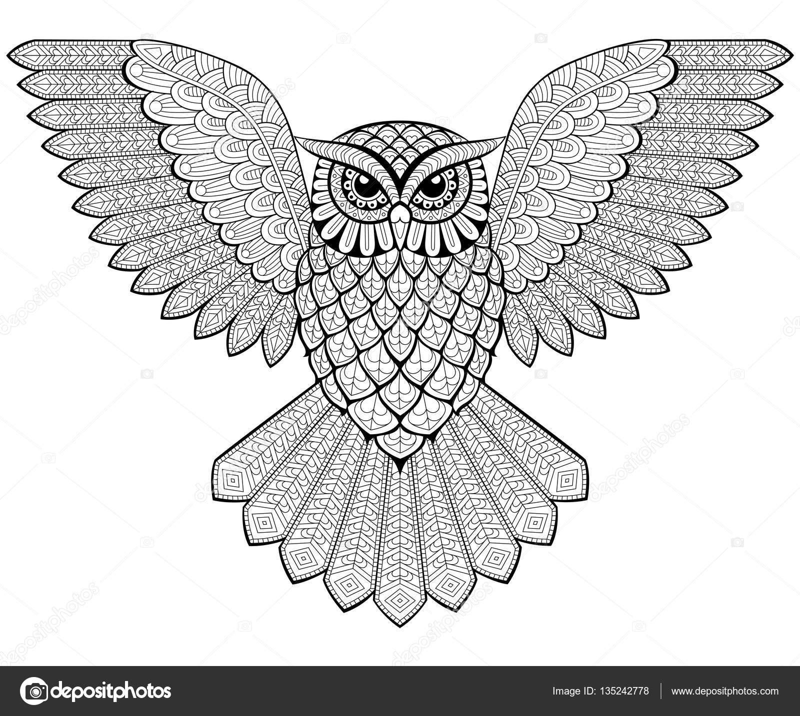 Uçan Baykuş Zentangle Tarzı Yetişkin Antistress Boyama Sayfası