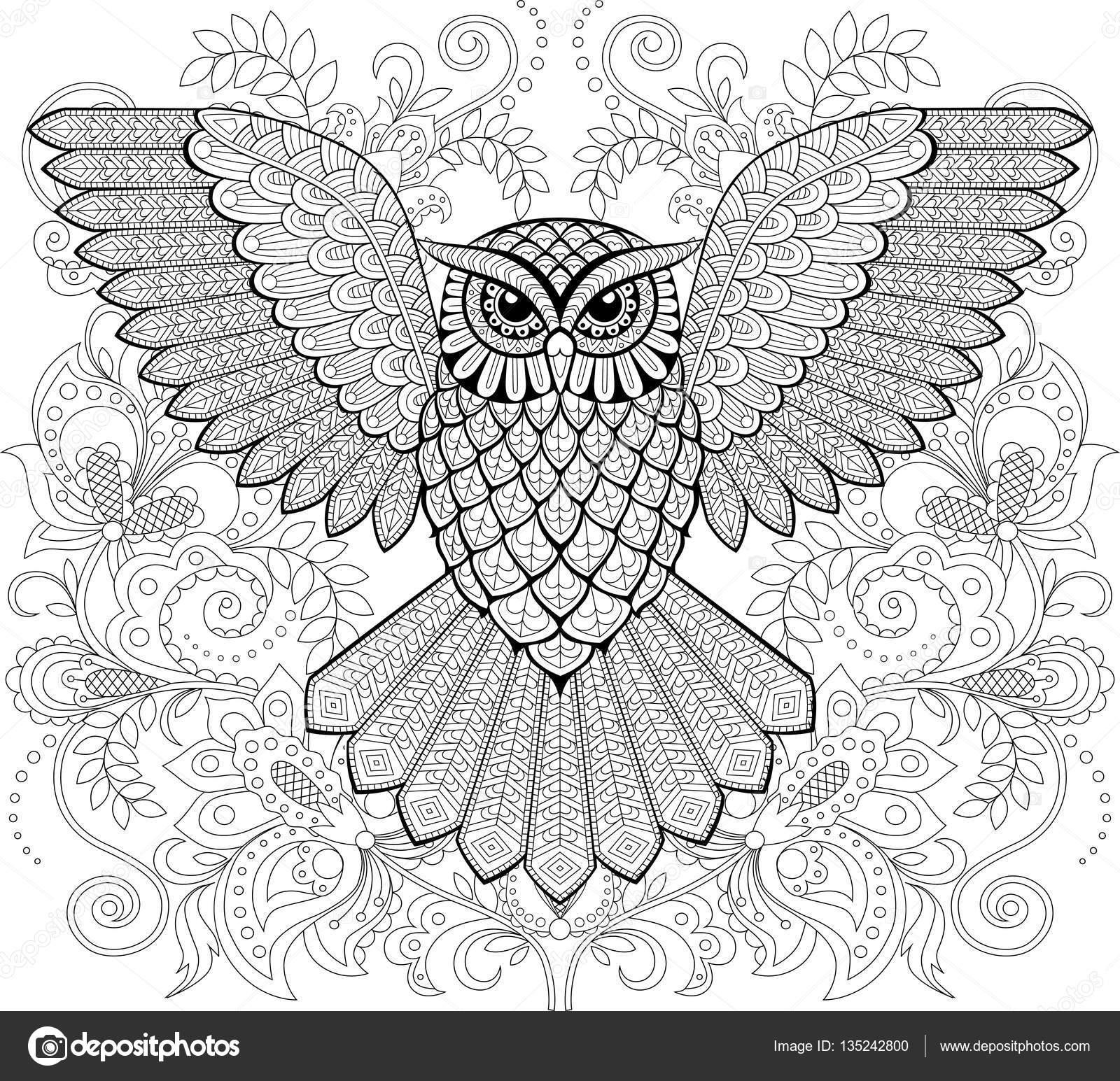 Volwassen Kleurplaten Dieren Konijn Flying Owl And Floral Ornament In Zentangle Style Adult